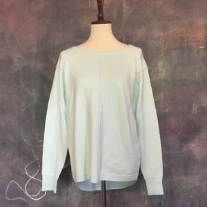French Connection Soft Aqua Crewneck Sweater
